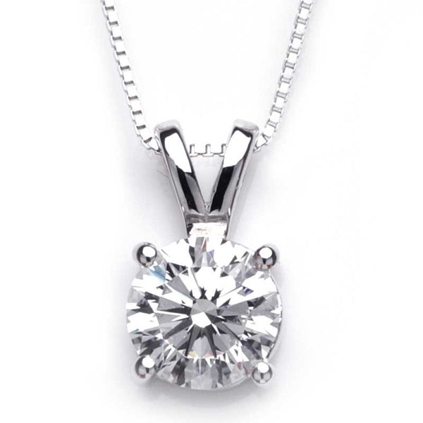 Classic Four Claws Setting Round Brilliant-cut White Sapphire Necklace
