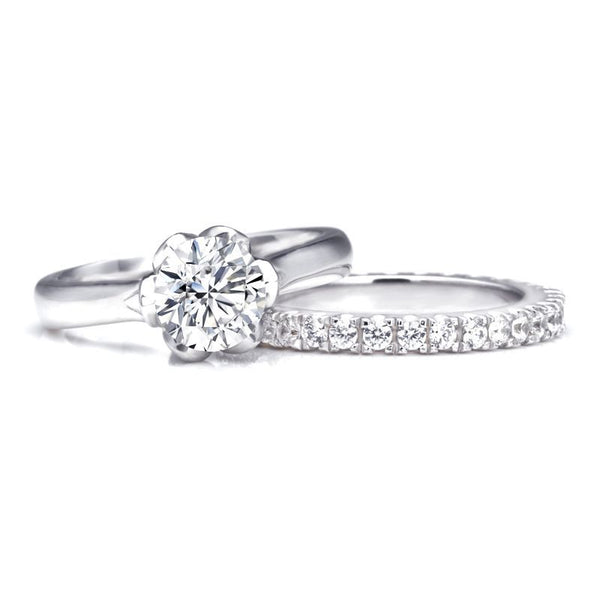 Bud Round Brilliant-cut Created White Sapphire Gem-Studded Band Sterling Silver Bridal Set