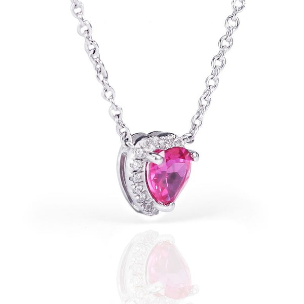Heart Red Sapphire Halo Women's Whole Necklace