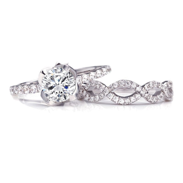 Rose Bud Round-cut White Sapphire Entwined Stone Band Sterling Silver Wedding Set