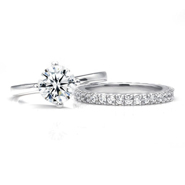 Classic Round Brilliant-cut White Sapphire Gem-Studded Band Sterling Silver Bridal Set