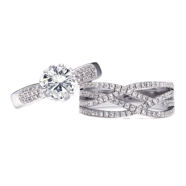 Classic Rose Bud Round Brilliant-cut White Sapphire Intertwined Stone Band Bridal Set