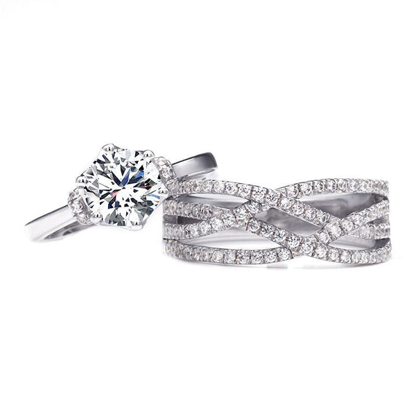 Round Brilliant-cut White Sapphire Intertwined Stone Band Bridal Set