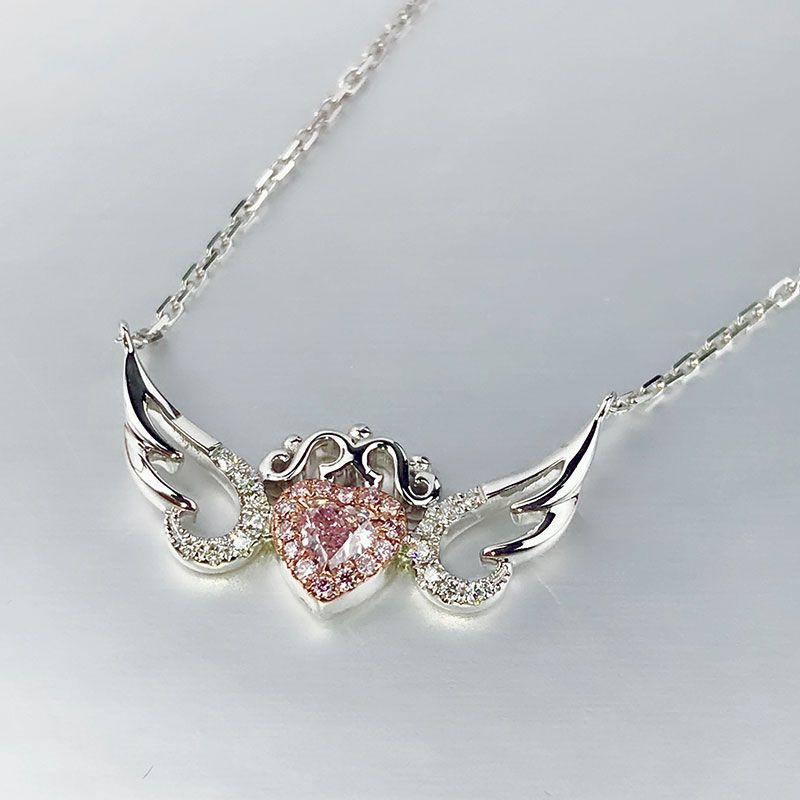 Angle Wings Heart Design Halo Created Pink Sapphire Sterling Silver Necklace