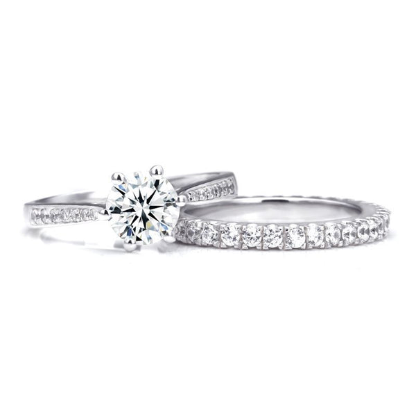 Six Claws Round Brilliant-cut White Sapphire Gem-Studded Band Sterling Silver Bridal Set