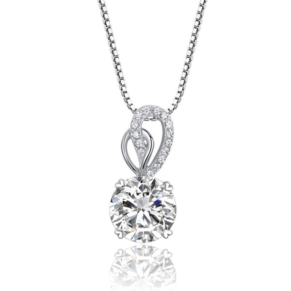 Heart Claw Setting Round Brilliant-cut White Sapphire Necklace