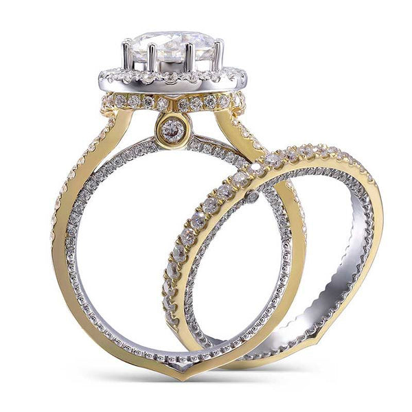 Halo Vintage Two Tone Sapphire Wedding Set