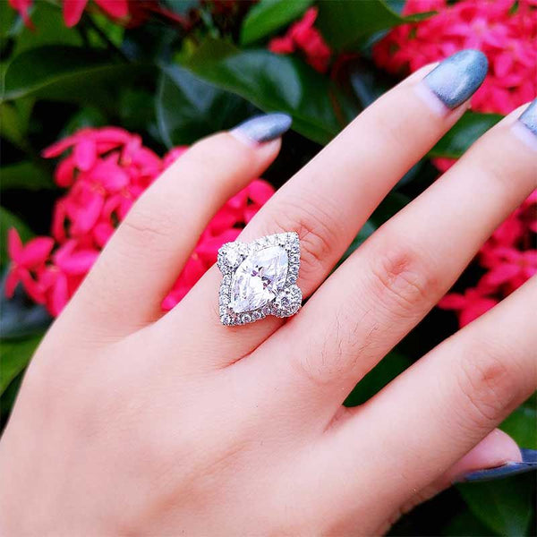 Brilliant Marquise Cut Halo Ring