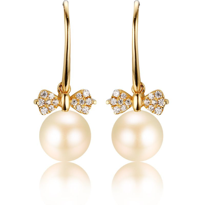 Bow Princess Pearl And Moissanite 14K Rose Gold Drop Earrings