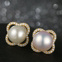 14K Yellow Gold Pearl And Moissanite The Eastern Pearl Stud Drop Earrings