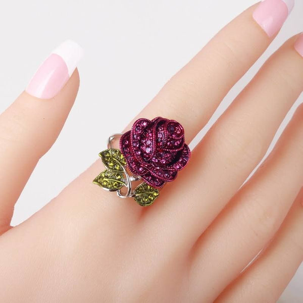 Purple Roses Fashio Ring For Womens