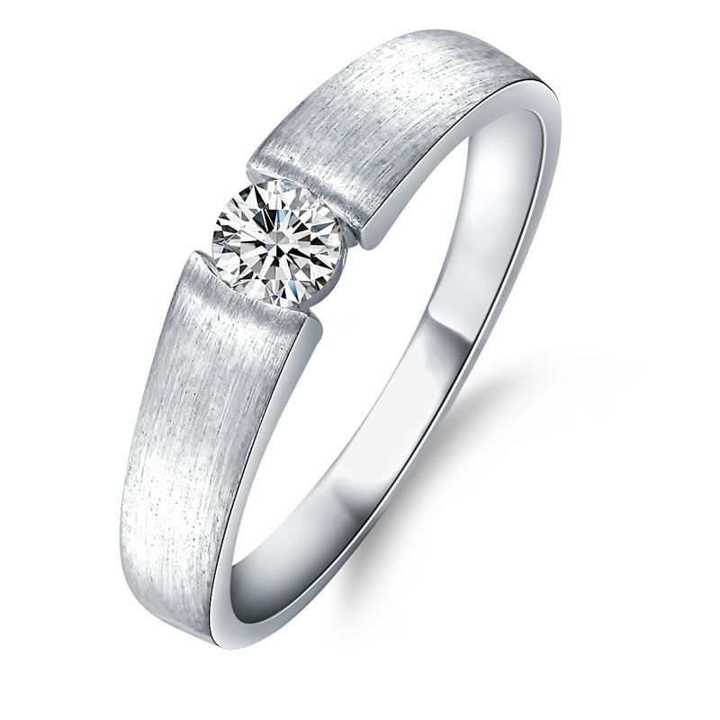 Tension Setting Cubic Lady's Engagement Wedding Ring