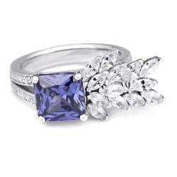 Unique Blue Sapphire White Leaf Design Cocktail Ring