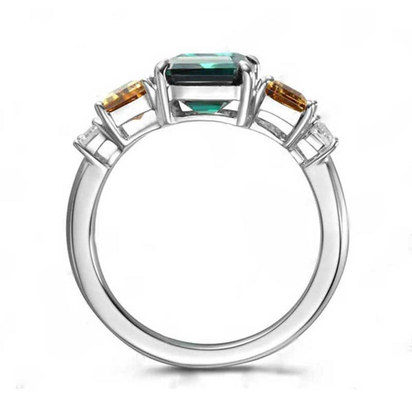 Classic Emerald Cut Sterling Silver Ring for Women