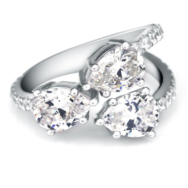 Three Pear-shaped Simulated White Sapphire Split Shank Ring