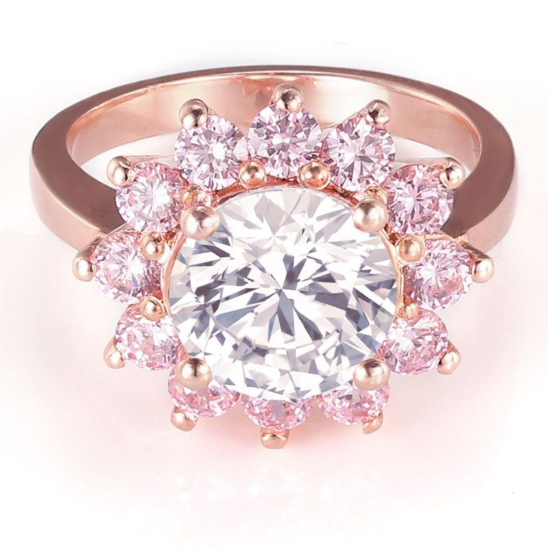 Unique Rose Gold Pink White Sapphire Engagement Ring