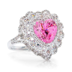 Unique Heart-shaped 3.0CT Pink Sapphire Cocktail Ring