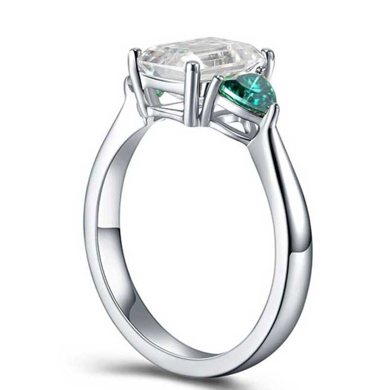 Three Stone Emerald Cut Classic Sterling Silver Ring