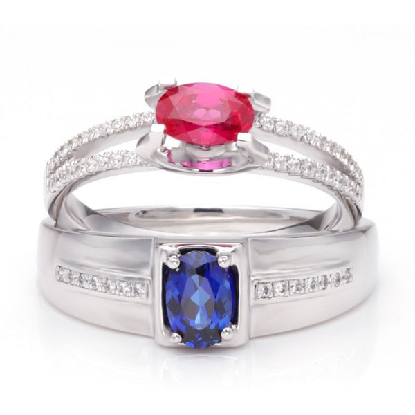 Ruby Hollow Shank Sapphire 925 Sterling Silver Couple Rings