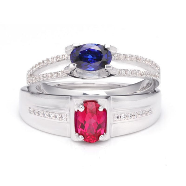 Ruby Sapphire Hollow Shank 925 Sterling Silver Couple Rings