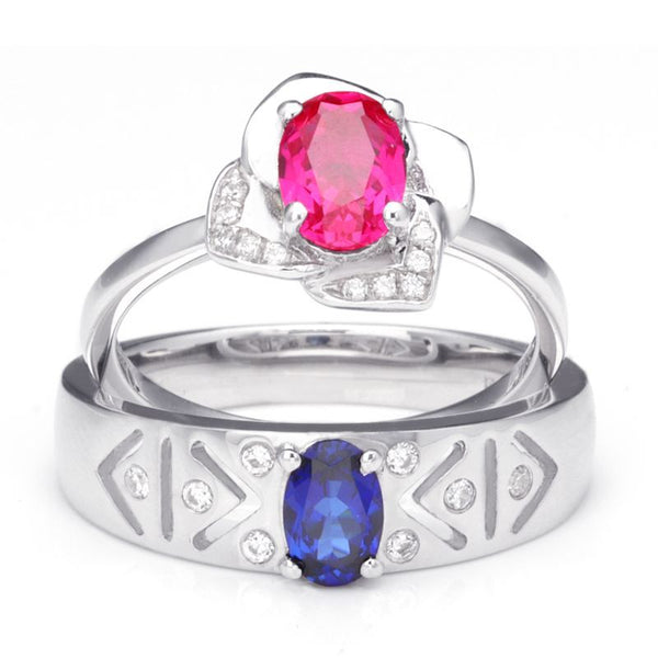Sapphire Oval-cut Ruby Flowers 925 Sterling Silver Couple Rings