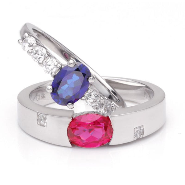 Ruby Sapphire 925 Sterling Silver Couple Rings
