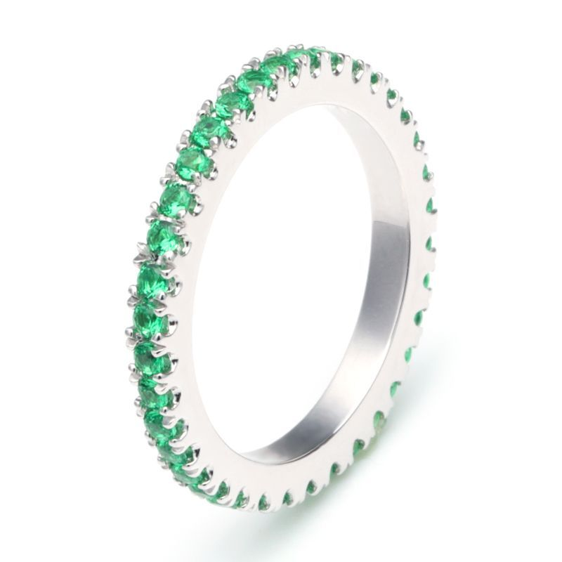 Classic Green Sapphire Gem-Studded Wedding Band For Her