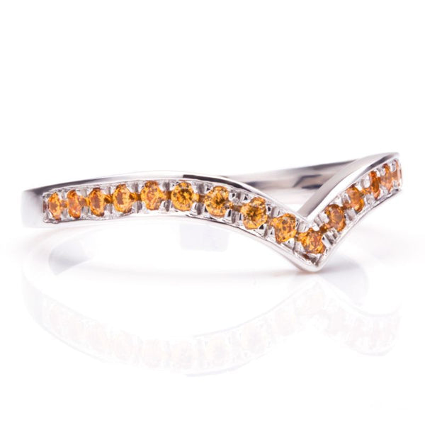 V Shape Pave Setting Golden Yellow Sapphire Wedding Bands