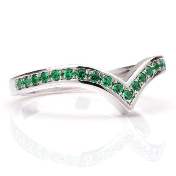 V Shape Pave Setting Light Green Sapphire Wedding Bands
