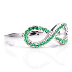 Infinity Cluster setting Light Green Sapphire Round Cut Wedding Band