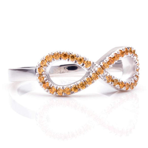 Infinity Cluster setting Golden Yellow Sapphire Round Cut Wedding Band