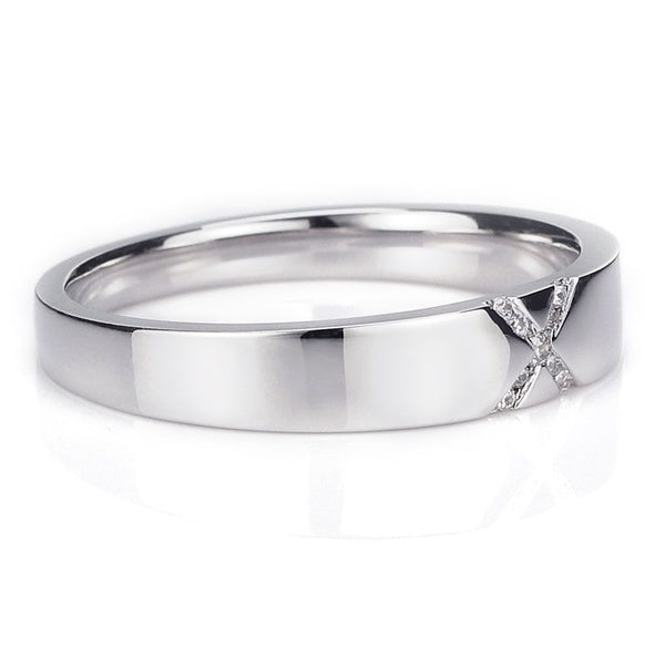 """X""Design White Gold Nine Micro Sapphire Cross Wedding Band For Her"