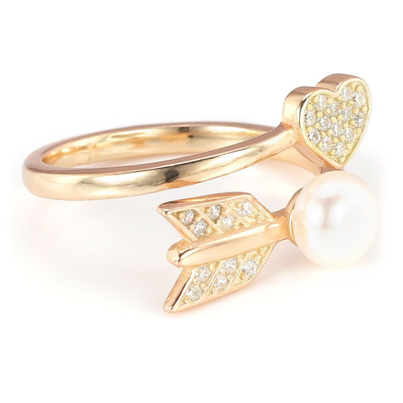 Gold Plated Heart Arrow Pearl White Sapphires Sterling Silver Adjustable Ring Band