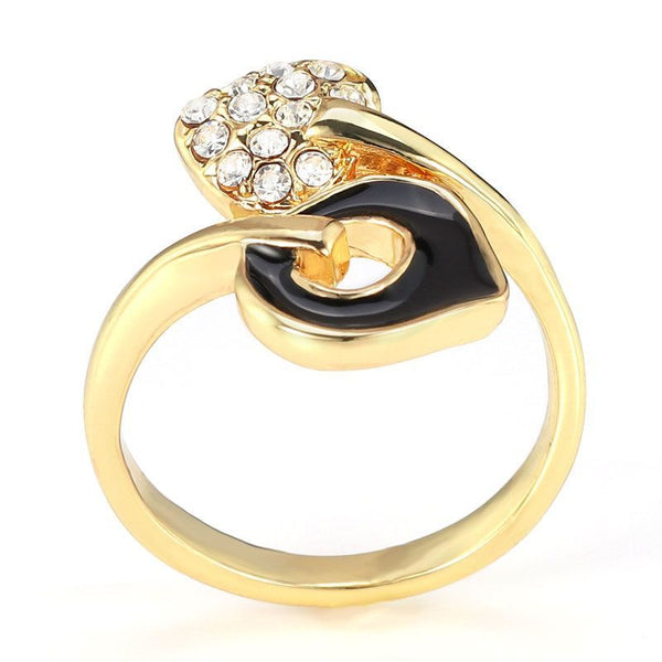 Gold Plated Double Heart White Sapphire Ring Band