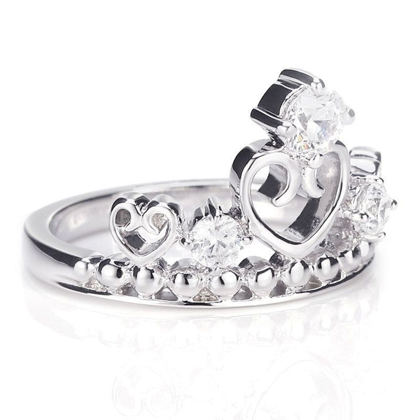 Crown Three Stone Hollow Heart Engagement Ring