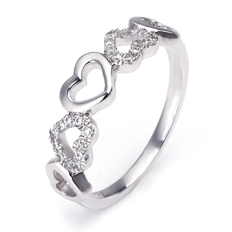 Hollow Heart Brilliant-cut Created White Sapphire Wedding Band for her