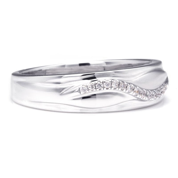 Curve Pave Setting Created White Sapphire Wedding Band For Him