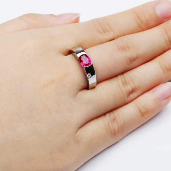 925 Sterling Silver Ruby Engagement Wedding Bands