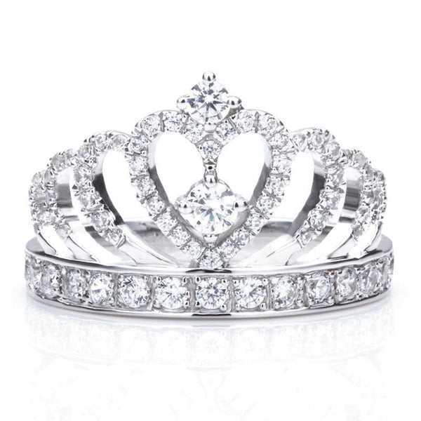 Crown Series Silver Fashion Style Princess Engagement Ring