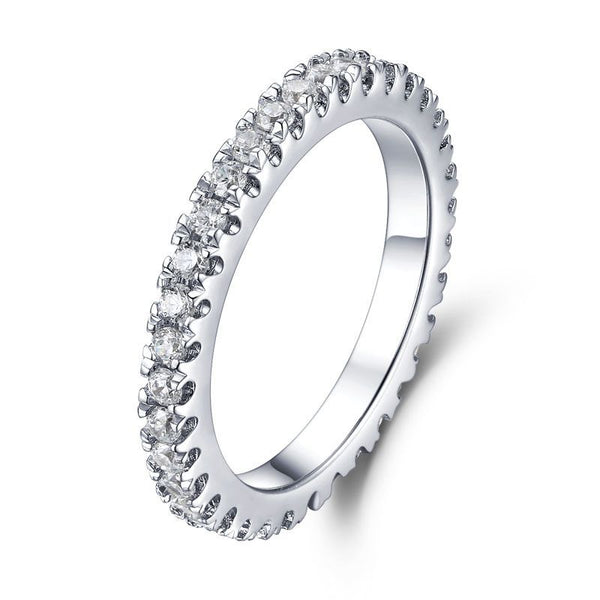 Classic White Created Sapphire Women's Gem-Studded Wedding Bands For Her