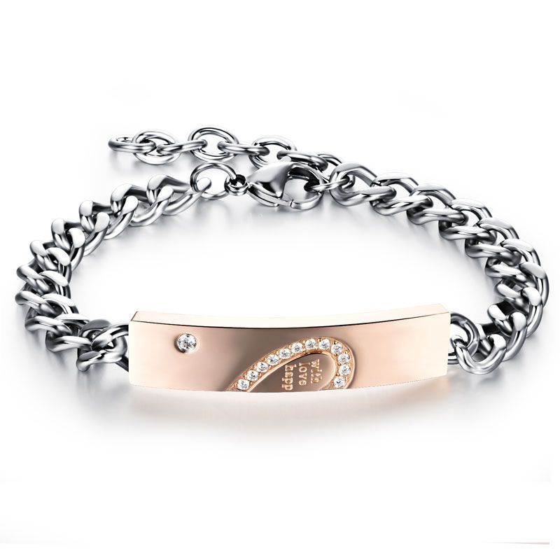 Infinity Heart Design Couple Bracelet Titanium Steel