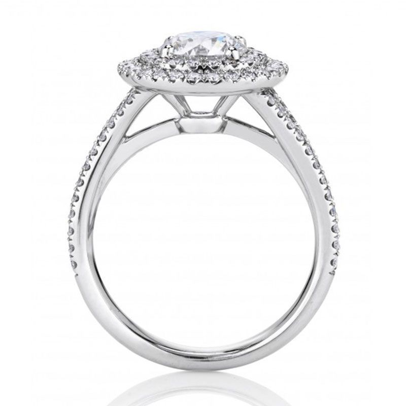 Double-Halo Round Sapphire Solitaire Embraced Engagement Ring