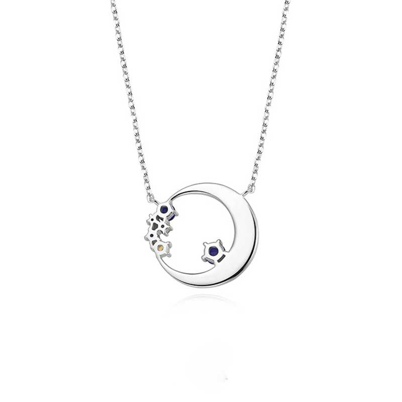 Moon Pendent Sterling Silver Necklace For Women