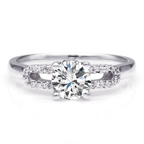 Double-U White Sapphire Intertwined Stone Band Wedding Set