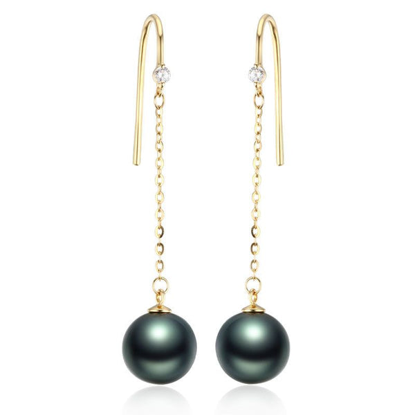Natural Pearl And Moissanite 14K Rose Gold Round Tahiti Black Pearl Hoop Earrings For Womens