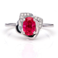 Solitaire Ruby Flower Engagement Ring