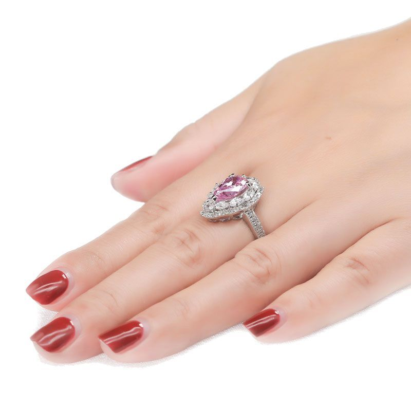 Gorgeous Pear Cut Double Halo Ring