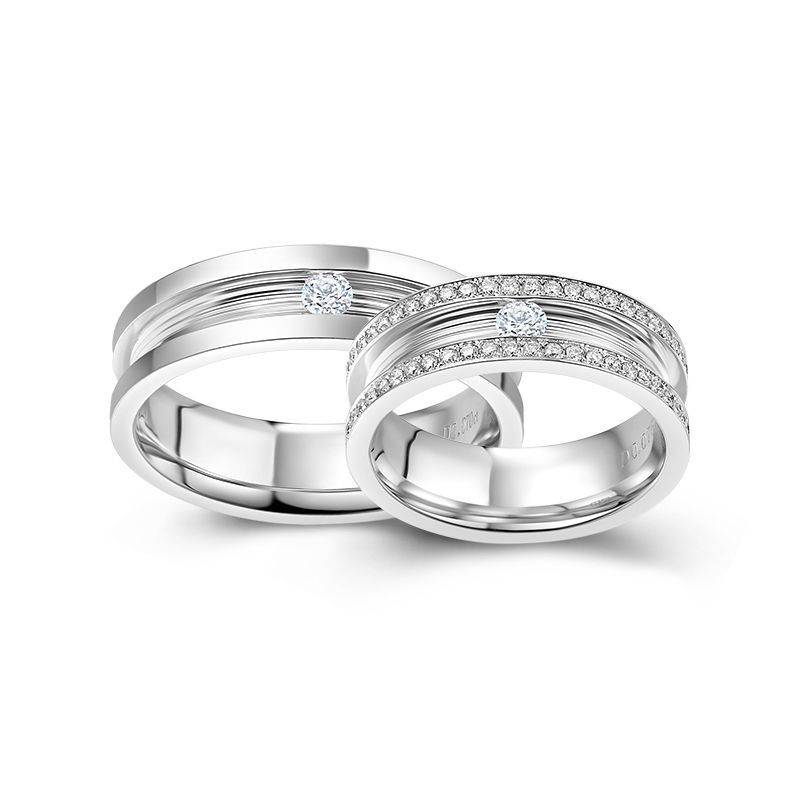 Channel Setting Round Brilliant-cut White Sapphire Together Series Couple Rings