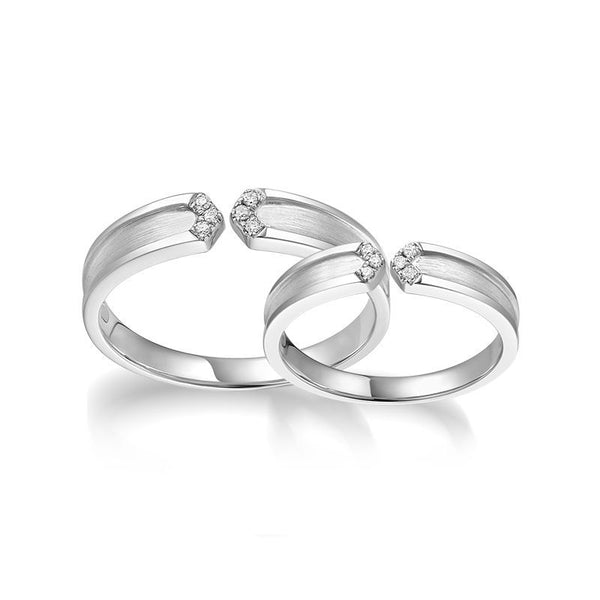 Round Brilliant-cut Black and White Sapphire I Love U Together Series Couple Rings