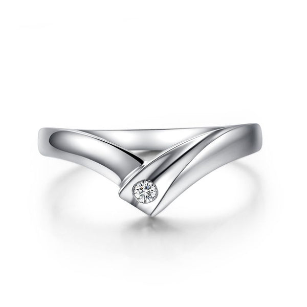 Round Brilliant-cut White Sapphire V-shaped Together Series Couple Rings